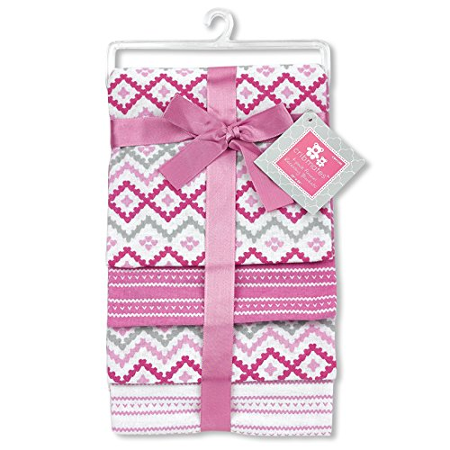 "Regent Baby 4 Piece Flannel Receiving Blanket, Pink/White, 28"" x 28"""