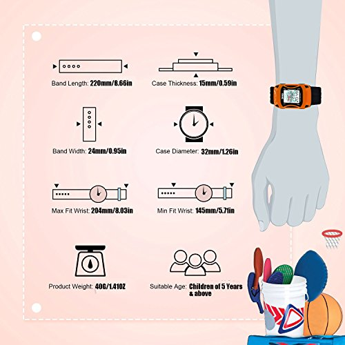 Kids Watches LED Waterproof 3D Car Silicone Children Toddler Wrist Watches Time Teacher Gift for Boys Girls Little Child Orange by Etway (Image #3)
