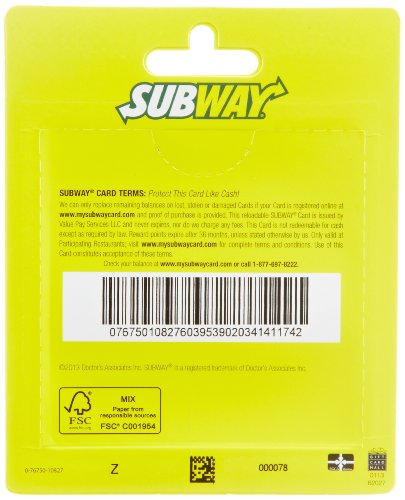 Subway Gift Cards, Multipack of five