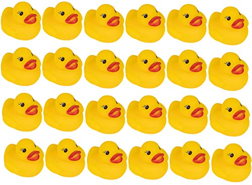 (Juvale Rubber Ducks - 24-Count Mini Rubber Duckies, Floating Baby Bath Toys for Children, Toddlers, Yellow, 2 x 1.6 x 2 Inches)