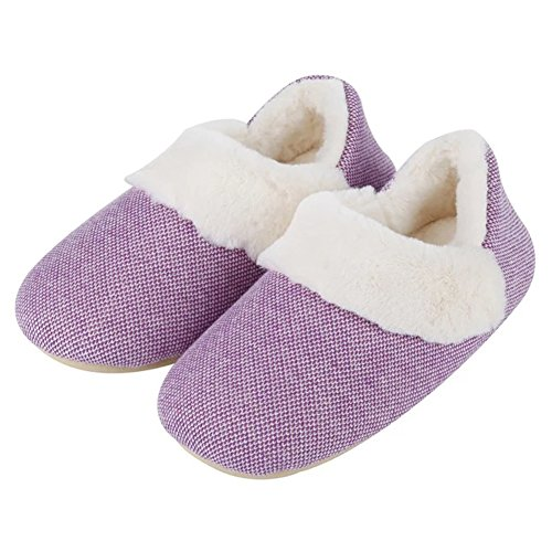 YUTIANHOME Slippers For Ladies Womens Knitted Memory Foam Comfort Soft Warm House Indoor Anti-Skid Shoes Purple