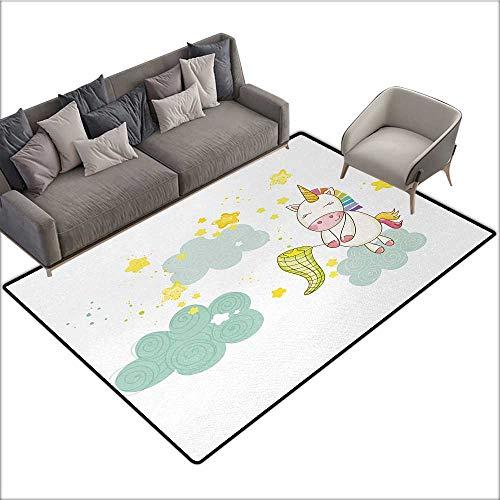 Unicorn Decorative Floor mat Baby Mystic Unicorn Girl Sitting on Fluffy Clouds and Hunting Nursery Image 70