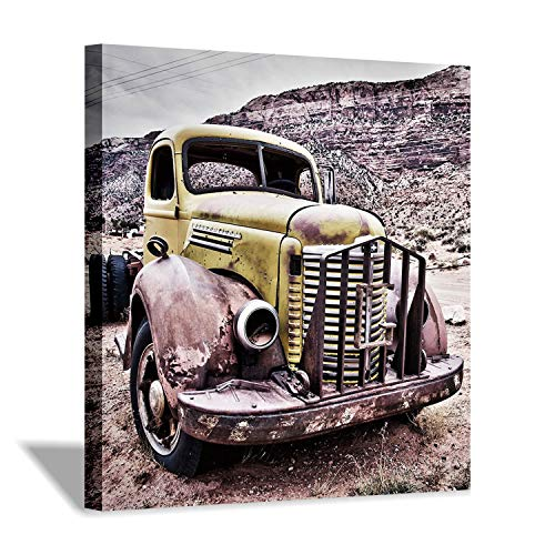 (Old Truck Canvas Wall Art: Front of Vintage Truck Photographic Print Wall Decor Picture for Office (24'' x 24'' x 1 Panel))