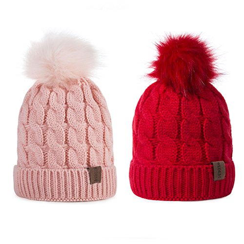 REDESS Kids Winter Warm Fleece Lined Hat, Baby Toddler Children's Beanie Pom Pom Knit Cap for Girls and Boys(2 Packs Red&Pink) ()