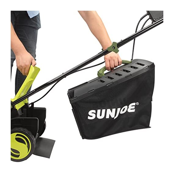 Sun Joe MJ400E 12-Amp 13-Inch Electric Lawn Mower w/ Grass Collection Bag 5 Powerful: 12-amp motor cuts a crisp 13.4 in. Wide path Adjustable deck: customize your cut with 3-position adjustable Height control: 0.98 in., 1.77 in., 2.56 in Lightweight: compact design is ideal for maneuvering around small lawns