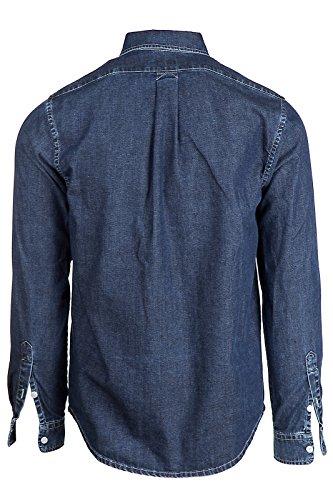 Kenzo chemise à manches longues en denim homme blu EU L (UK 40) 2EG 5CH600 76