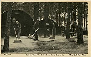 Seabees Clean Up Their Hives Camp Peary, Virginia Original Vintage Postcard by CardCow.com