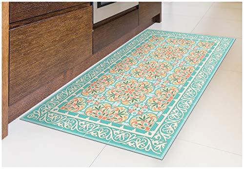 - Tiva Design Italian Garden Vinyl Floor Mat: Decorative Linoleum PVC Rug Runner Tile Flooring in 12 Choices, Colorful, Durable, Anti-Slip, Hand Washable, and Protects Floors 47.2