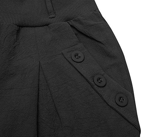 Ceinture Button Stretch Noir Cindeyar Causal Ceinture Elastique avec Fluide Taille Bouffant Harem Pantalon Femme Haute Decoration anxq16wnPZ