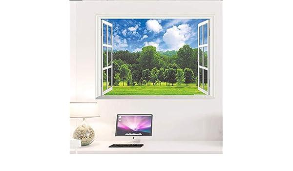 OTXA Pegatinas de Pared Forest Blue Sky 3D Pegatinas de Pared extraíbles Ventana Falsa Paisaje Papel Tapiz Sala de Estar decoración del Cartel decoración del hogar: Amazon.es: Deportes y aire libre