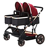 Double Stroller Newborn Infant Side by Side Twin Stroller Anti-shock Pram Pushchair-Red