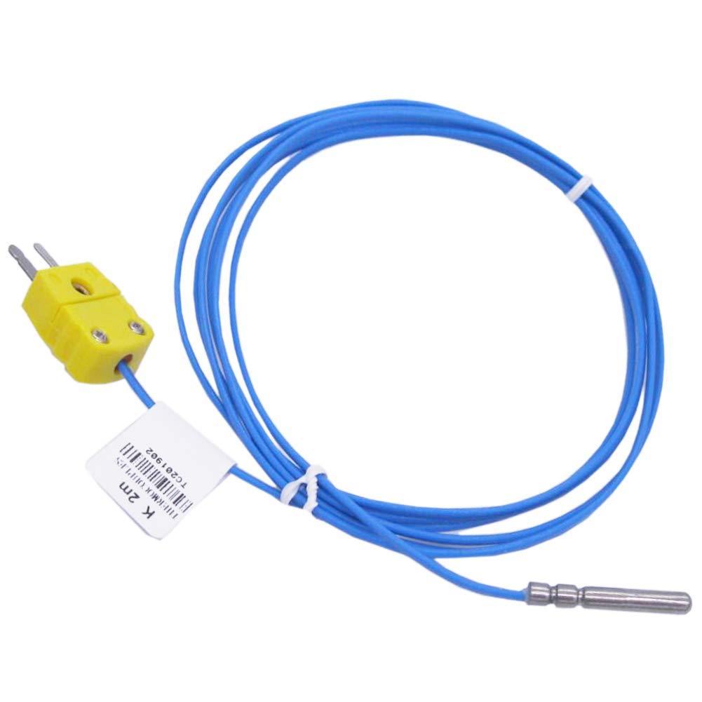 Twidec /2M with Plug Waterproof Stainless Steel K-Type Sensor Probes Metal Head Probe 30MM for Thermocouple Sensor & Meter Temperature Controller(Temperature Range:-50~200 °C) TA-6340-W-C