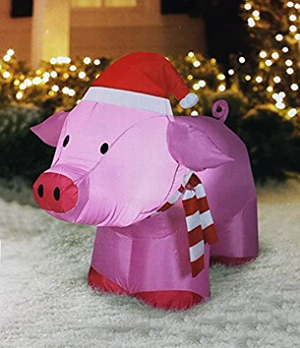airblown inflatable outdoor christmas pig 3 ft tall - Pig Christmas Decorations Outdoors