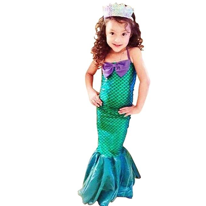 Vestido Niñas 3-12 años vestidos de cola de pescado princesa Ariel lindo vestido de sirena fiesta de Halloween traje de cosplay: Amazon.es: Ropa y ...