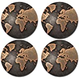 World Map Rubber Round Coaster set (4 pack) Great Gift Idea