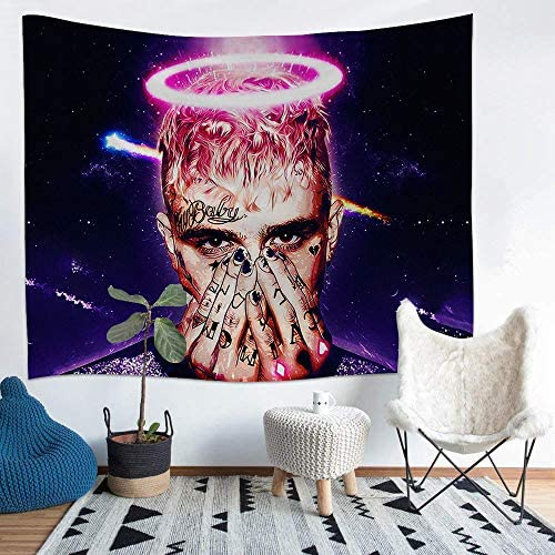 698 Lil Peep Tapestry, Rapper Tapestry, Art Photo Wall Hanging, Mural for Bedroom, Living Room, Dorm, Home Decoration White 1, 59.1 x 82.7 Inch