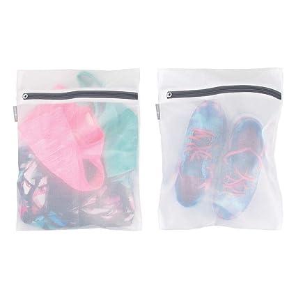 mDesign Juego de 2 bolsas para lavandería con cremallera ...