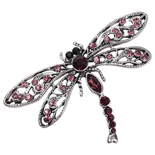 Hiddlston Crystal Dragonfly Custom Collection Stretch Antique Statement Dome Butterfly Flower Wide Band Lavender Ring Halloween Christmas Costume Accessories Jewelry Gift Women Girl (Violet)