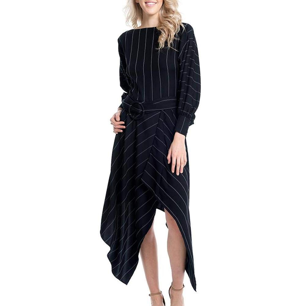 Gracia Stripe Uneven Belted Dress (Small, Navy)