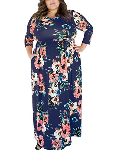 FAVALIVE Plus Size Empire Waist 3/4 Sleeve Maxi Dresses for Women Party Navy 3XL