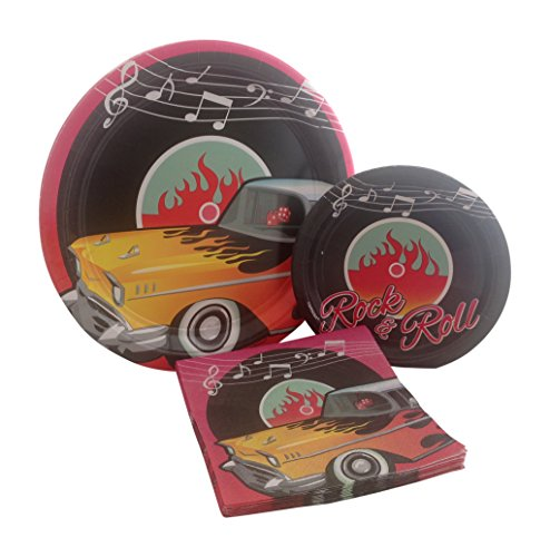 Classic 1950's Rock and Roll Birthday Party Supply Bundle with Paper Plates and Napkins for 8 (Record Party Plates)