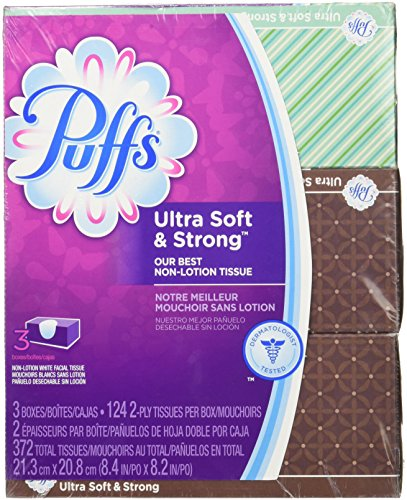 Puffs Ultra Soft 372 Total Tissues 3 Boxes 124 2-Ply Per Box