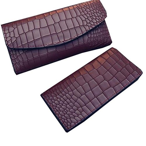 LUNIWEI Women 2 PCS Crocodile Pattern Solid Clutch Purse Handbag Card Holder Insert-Organizer Wallet