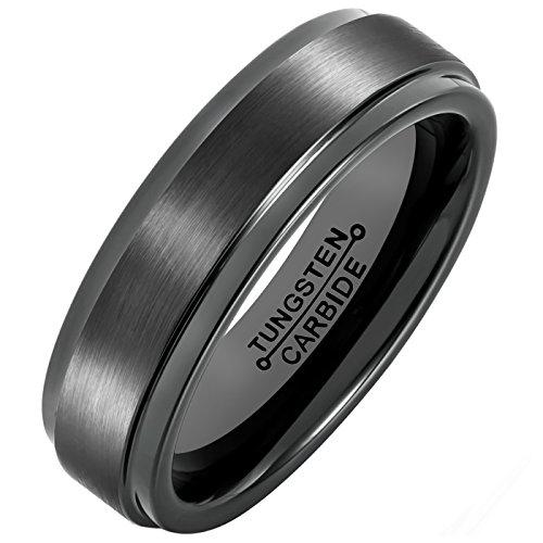 Brushed Wedding Ring Band (MNH Tungsten Carbide Black Men's  Wedding Band Brushed Matte Finish Polished Edge Engagement Ring, 10.5)