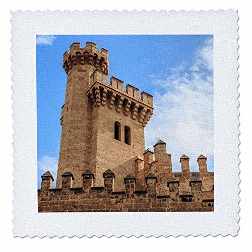 3dRose Danita Delimont - Castles - Spain, Balearic Islands, Mallorca, Palma de Mallorca, Almudaina palace - 12x12 inch quilt square (qs_277904_4) by 3dRose