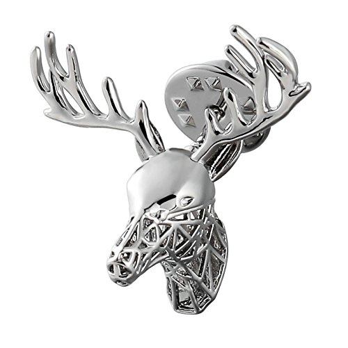 Womens Ladies Brooch Stainless Steel Brooches Sika Deer Silver 3X3.3CM Womens Gift Xmas Gift Bag - Diy Stand Sunglasses