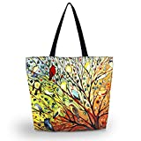 Beach Tote Bags Travel Totes Bag Shopping Zippered Tote for Women Foldable Waterproof Overnight Handbag (Birds on tree)