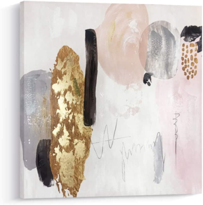 Pi Art Framed Contemporary Abstract Shinning Gold and Pink Trendy Canvas Print Wall Art with Gold Foil Wall Decor Picture for Living Room and Bedroom (24x24, A)