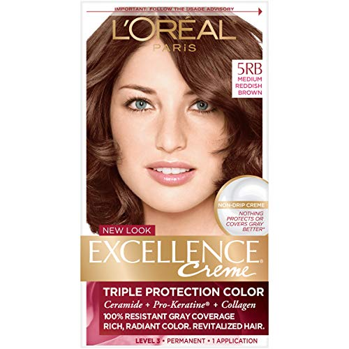 L'Oréal Paris Excellence Créme Permanent Hair Color, 5RB Medium Reddish Brown, 1 kit 100% Gray Coverage Hair Dye