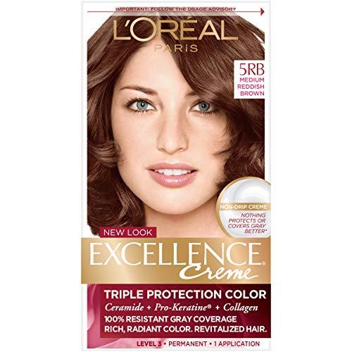 L'Oréal Paris Excellence Créme Permanent Hair Color, 5RB Medium Reddish Brown, 1 kit 100% Gray Coverage Hair Dye ()