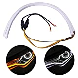 running board light strip - 2Pcs 23 Inches Dual Color White/Sequence Amber LED Strip Tube, YANF Car Flexible Daytime Running Lights DRL Switchback Headlight Decorative Lamp and Flowing Turn Signal Light