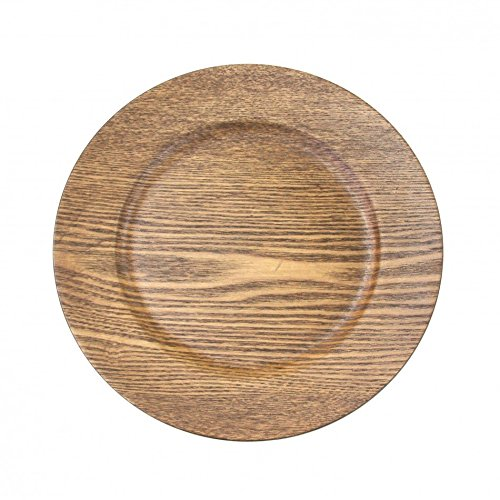 Koyal Wholesale 424675 Faux Wood Charger Plates, Walnut