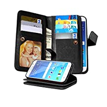 Galaxy S6 Case, NOKEA [Wallet] [Kickstand] [Anti-Scratches] [Shock Resistant] and [Drop Protection] Premium PU Leather Flip Wallet Case Cover for Samsung Galaxy S6 (Black)