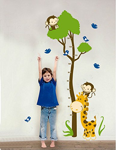 Huge Giraffe Monkey Tree Kids Growth Chart Height Measure Wall Stickers Boy Girl Kids Rooms Decoration Decals Decor Barn