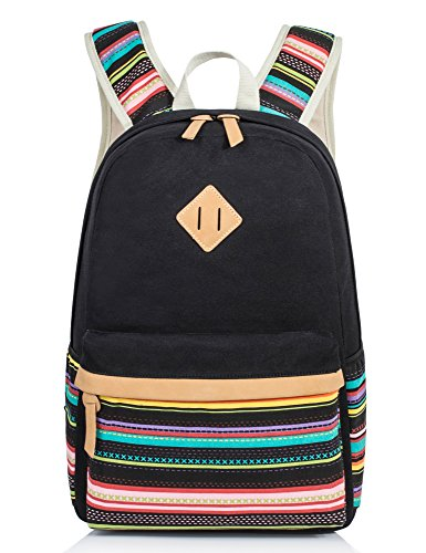 Cute Backpack for Girls, Canvas Middle School Laptop Book Bag for Kids Rucksack (Kids Laptop Bags)