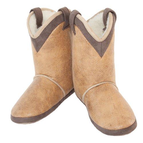 - CicciaBella Women's Boa Bella Boot Slippers, Medium, Tan with Brown Trim