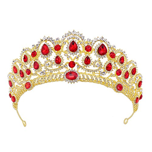 Pensoda Crystal Headpieces Jewelry Crown Cinderella Make Over Tiara Princess Theme Prom Prop Granddaughter Gifts Crown Size Visible Tiara (Gold-Red)]()