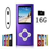 G.G.Martinsen Purple Stylish MP3/MP4 Player with a 16GB Micro SD card, Support Photo Viewer, Recorder & Radio, Mini USB Port 1.8 LCD, Digital Music Player, Media/Video Player, MP3 Player, MP4 Player