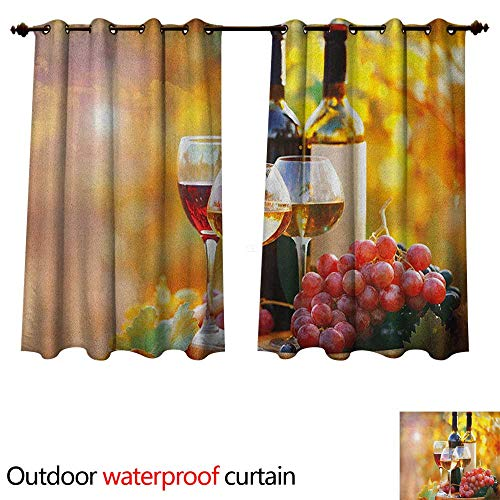 (Anshesix Wine Outdoor Ultraviolet Protective Curtains Tasty Wine on Wooden Barrel on Grape Plantation Countryside Harvest Rural Growth W63 x L63(160cm x 160cm))
