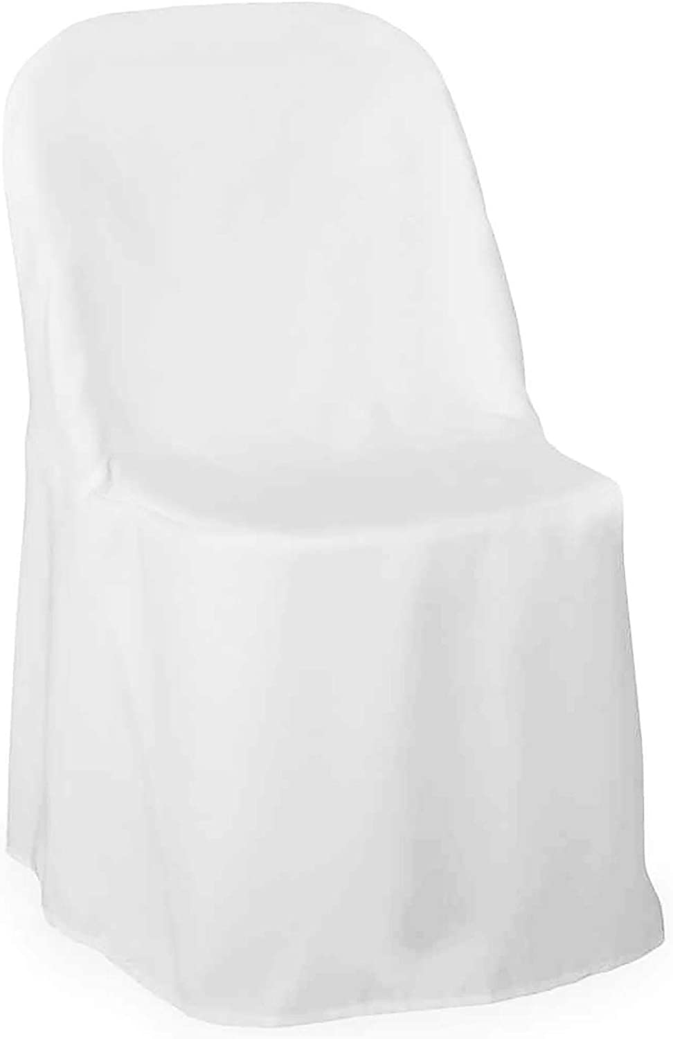 Lann's Linens - 10 Elegant Wedding/Party Folding Chair Covers - Polyester Cloth - White: Home & Kitchen