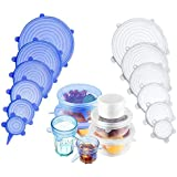 Silicone Stretch Lids, 12 Pacs Reusable Food Covers for Various Sizes Bowl, Reusable Durable and Expandable Lids to Keep Food Fresh, Fit for Microwave Dishwasher Refrigerator
