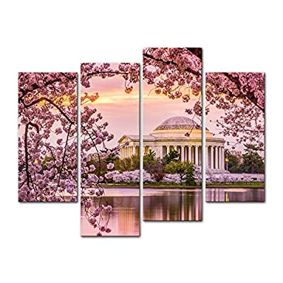 Wall Art Decor Poster Painting On Canvas Print Pictures 4 Pieces Washington Dc Tidal Basin and Jefferson Memorial Cherry Blossom Spring Moument Framed Picture for Home Decoration Living Room Artwork