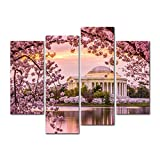 4 Pieces Modern Canvas Painting Wall Art The Picture For Home Decoration Washington Dc Tidal Basin And Jefferson Memorial Cherry Blossom Spring Moument Print On Canvas Giclee Artwork For Wall Decor