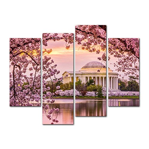 Cherry Pictures Blossom (4 Pieces Modern Canvas Painting Wall Art The Picture For Home Decoration Washington Dc Tidal Basin And Jefferson Memorial Cherry Blossom Spring Moument Print On Canvas Giclee Artwork For Wall Decor)
