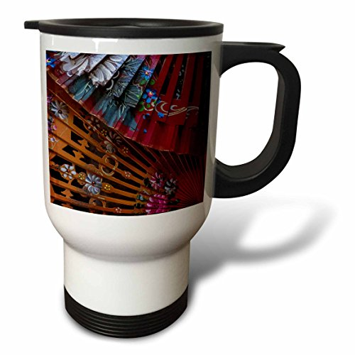3dRose Danita Delimont - Patterns - Spain, Andalusia. Granada. Hand painted personal fans. - 14oz Stainless Steel Travel Mug (tm_277889_1) by 3dRose