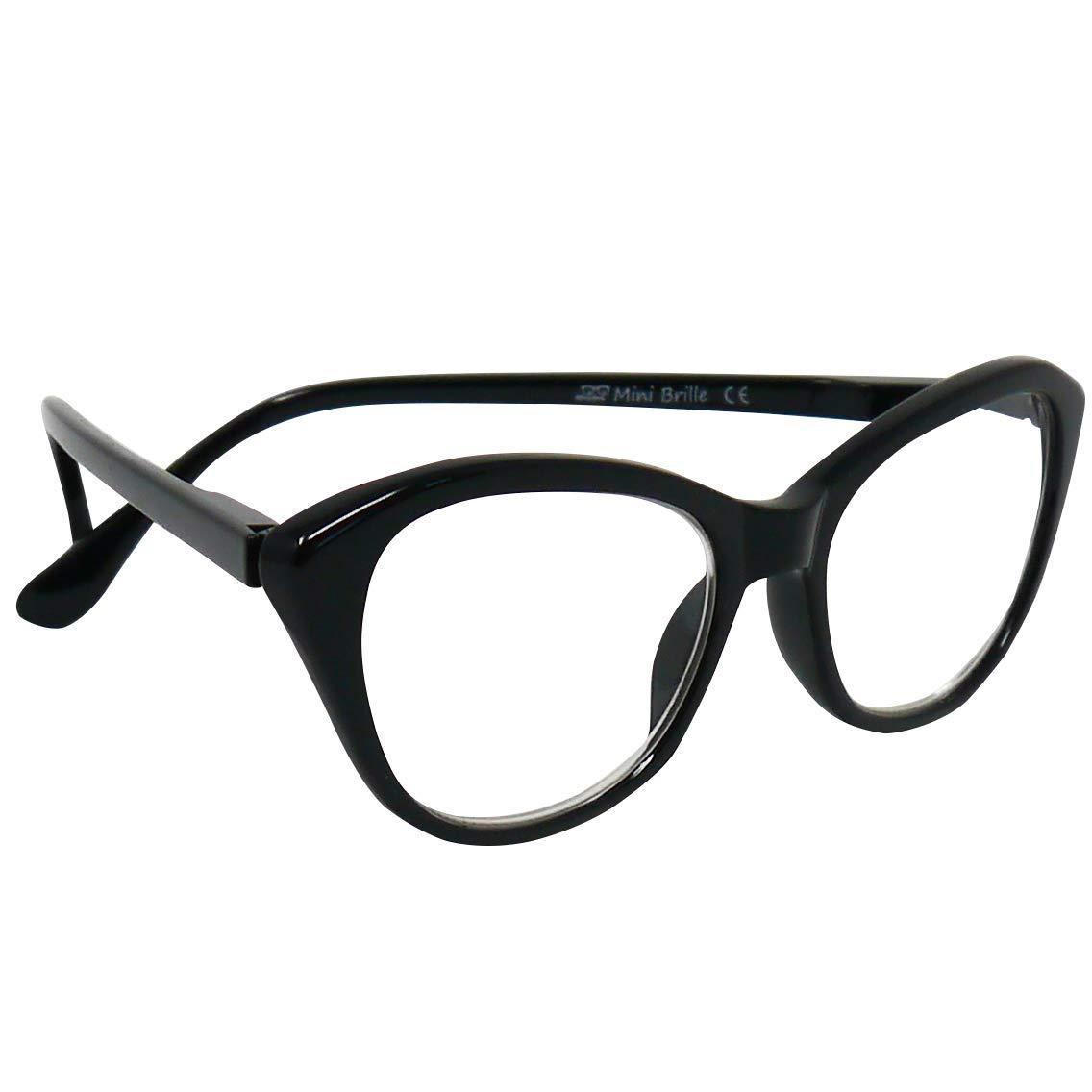 Cat-Eye Occhiali da Lettura per Donna  Diottrie +1.5 Montatura in Platica Stile da Gatto MINI BRILLE Occhiali da Lettura con Grandi Lenti col. Nero Custodia INCLUSA
